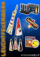 Feuerwerkverkaufsplakat mit Batteriefeuerwerk