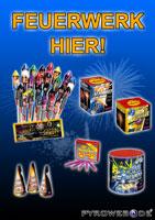 Feuerwerksverkaufsplakat mit Leuchtfeuerwerk