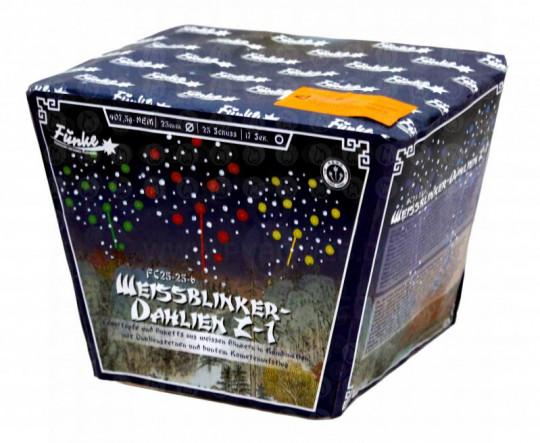 Funke Weißblinker-Dahlien Z-1, 25-Schuss-Fächerbatterie