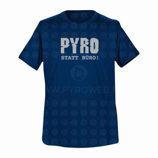 T-Shirt Navy: Pyro statt Büro