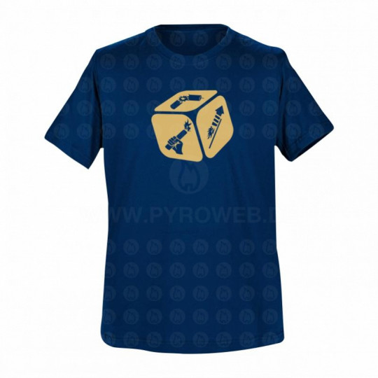 T-Shirt Navy: Pyro-Würfel
